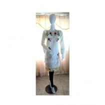 ASH Collection Embroidered Lawn Kurti For Women Off White