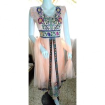 ASH Collection Embroidered Party Wear Dress For Women (Peach)