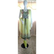 ASH Collection Embroidered Party Wear Dress For Women (Yellow)