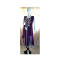 ASH Collection Embroidered Party Wear Suit For Women Purple