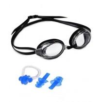 Attari Swimming Goggles With Ear Plugs & Nose Clip Black (0489)