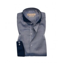 Avocado Steel Formal Shirt For Men Grey With Navy Dot (PS-23)