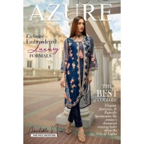 Azure Chiffon Collection Embroidery Unstitch Kurti For Women Blue