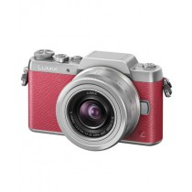 Panasonic Pink and Silver Lumix Mirrorless Camera (DMC-GF7) with 12-32mm Lens