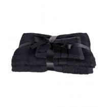 Bath & Home Cotton Fancy Towels Black Pack of 3 (061)