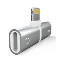 BazingaPk 2 In 1 Lighting Splitter Adapter For iPhone Silver