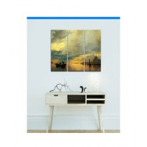 BednShines Digitally Printed Wooden Back Wall Canvas Frames Set Of 3 (EI-0398)