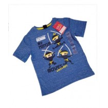 Bin Rizwan Collections Ninja Printed T-Shirt For Kids Blue