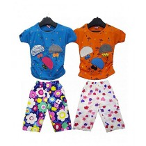 Bindas Collection Pack Of 4 Umbrella Tops & Capri Shorts For Kids Mulicolor (IL-0310)
