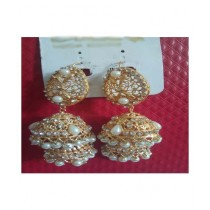 Bushrah Collection Golden Round Earring (0038)