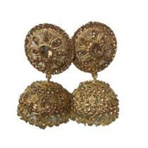 Bushrah Collection Golden Jhumka Earrings