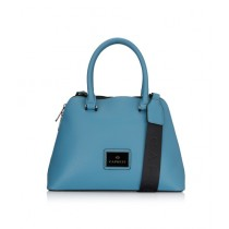 Caprese Cuba Satchel Medium Hand Bag For Women Dusty Blue