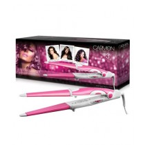 Carmen True Colours Hair Styler Straightener Curling Iron 3-in-1 (Pink)