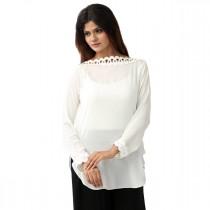 Carve Ivory Lace Neck Shirt For Women (CIV004)