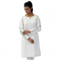 Carve Ivory Simple Notch Neckline Shirt For Women (CIV002)