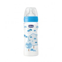 Chicco Wellbeing Silicone Bottle 330ml - 4M+ Blue