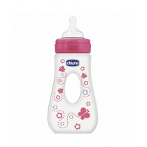 Chicco Wellbeing Silicone Traveling Bottle 240ml - 4M+ Pink