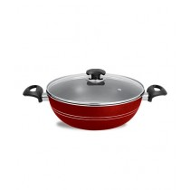 King Bazar Two Side Handles Non Stick Wok With Glass Lid Red 28 cm