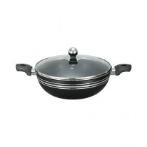 King Bazar Two Side Handles Non Stick Wok With Glass Lid Black 28 cm