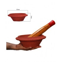 Clay Potter Clay Mortar & Wooden Pestle (0013)