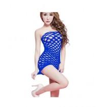 Clickbus Collection Lingerie Fishnet Mini Dress Blue