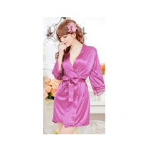 Clickbus Collection Open Front Belted Nightgown Purple