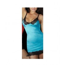 Clickbus Collection V-Neck Sexy Nightwear Dress Blue