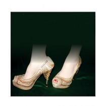 Colt Shoes Embroidered High Heel Shoes For Women Gold