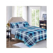 Cotton Passion Checked Printed King Bed Sheet Set Sapphire Blue