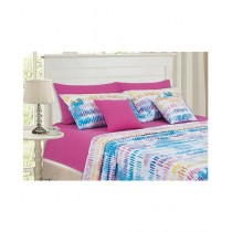 Cotton Passion Double Bed Sheet Set Indigo Pink