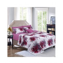 Cotton Passion Printed Single Bed Sheet Set Carnation Pink