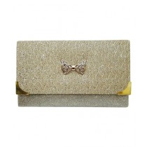 Craft n Creations Bow Clutch For Women Golden