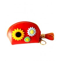 FS Couture Sunflower Coin Pouch Key Chain Red