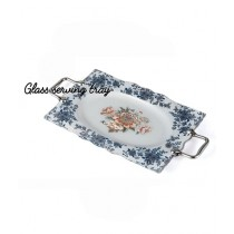Easy Shop 15inch Decorated Glass Serving Tray White
