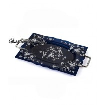 Easy Shop 17inch Decorated Glass Serving Tray Blue