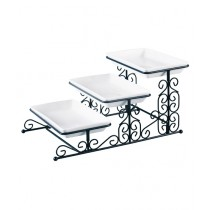 Easy Shop 3 Floor Fancy Tray Set With Stand Black