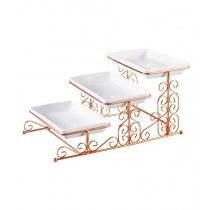 Easy Shop 3 Floor Fancy Tray Set With Stand Golden