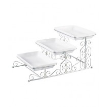 Easy Shop 3 Floor Fancy Tray Set With Stand Silver
