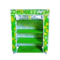 Easy Shop 4 Layer Zip Closure Cloth Shoe Rack Green