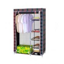 Easy Shop 5 Shelf Cloth Hanging Wardrobe Check Print (0504)
