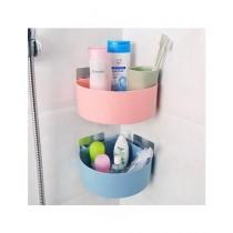 Easy Shop Bathroom Corner Storage Shelf Blue