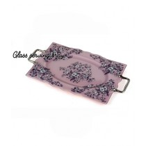 Easy Shop 17inch Glass Serving Tray Purple