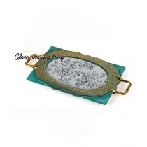 """Easy Shop 12"""" Decorated Serving Tray Green"""