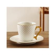 Easy Shop Tea Cup And Saucer 12 Pcs Set Matt Gold (0628)