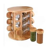 Easy Shop Wooden Frame Revolving Spice Jar Rack Pack Of 12