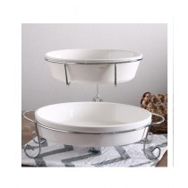 Easy Shop Chip & Dip 2 Layer Dish With Stainless Steel Stand