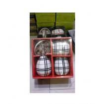 Easy Shop Fancy Ceramic Bath Set Of 4 - Black Line