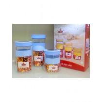 Easy Shop Glass Jar Set Of 3 Blue (BCB1-0314)