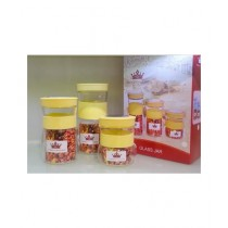 Easy Shop Glass Jar Set Of 3 Light Yellow (BCB1-0315)