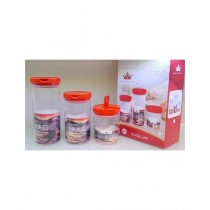 Easy Shop Glass Jar Set Of 3 Red (BCB1-0299)